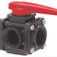 ARAG full bore lever 3 way viton ball valve with GRPP body