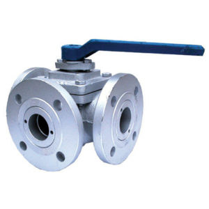 L or T port 3 way cast iron manual ball valves divert or mix the flow