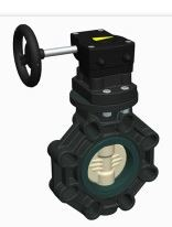 Gear operated CEPEX Extreme plastic GRPP butterfly valve