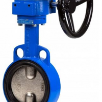 Gear operated wafer butterfly valve in cast iron body