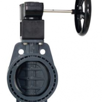 Gear operated PVC wafer butterfly valve