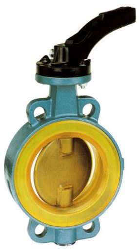 Wafer lever butterfly valve anti-abrasive wetted parts