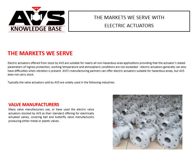 Markets served by actuated valve supplies ltd