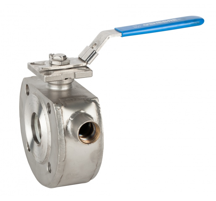 Wafer style 2 way lever operated stainless steel ball valves PN16