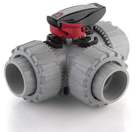 FIP TKD 3 way plastic ABS manual ball valve EPDM