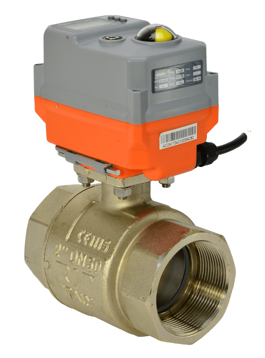 2 way on-off electric actuated brass ball valve with smart AVA compact electrical actuator from AVS