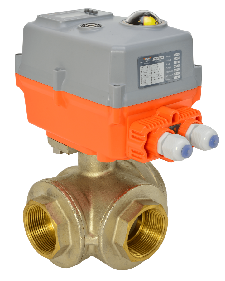 General service electric actuated brass 3 way ball valve with smart AVA compact electrical actuator from AVS