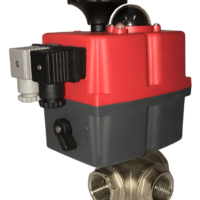 Electric actuated 3 way brass ball valve with J+J electrical actuator J3CS from AVS