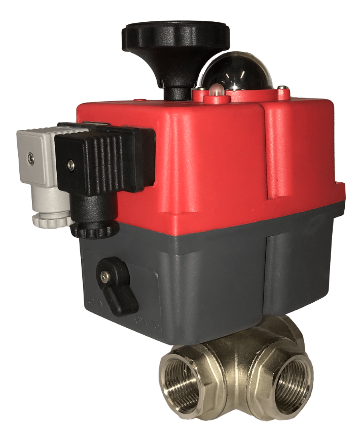 Electric 3 way brass ball valves with J3CS J+J actuator
