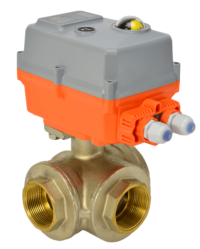 General service electric actuated brass 3 way ball valve with AVA compact electrical actuator from AVS