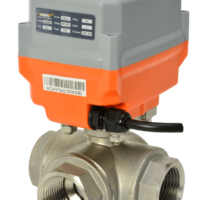 M39 Series electric actuated 3 way stainless steel ball valve with AVA Basic electrical actuator J3CS from AVS