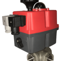 GE Economy Series electric actuated 3 way stainless steel ball valve with J+J electrical actuator J3CS from AVS