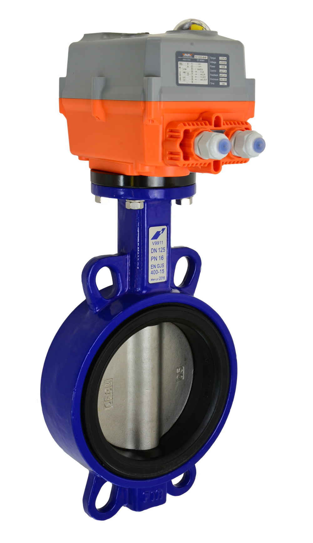 Wafer motorized butterfly valve with AVA Electric Actuator from AVS
