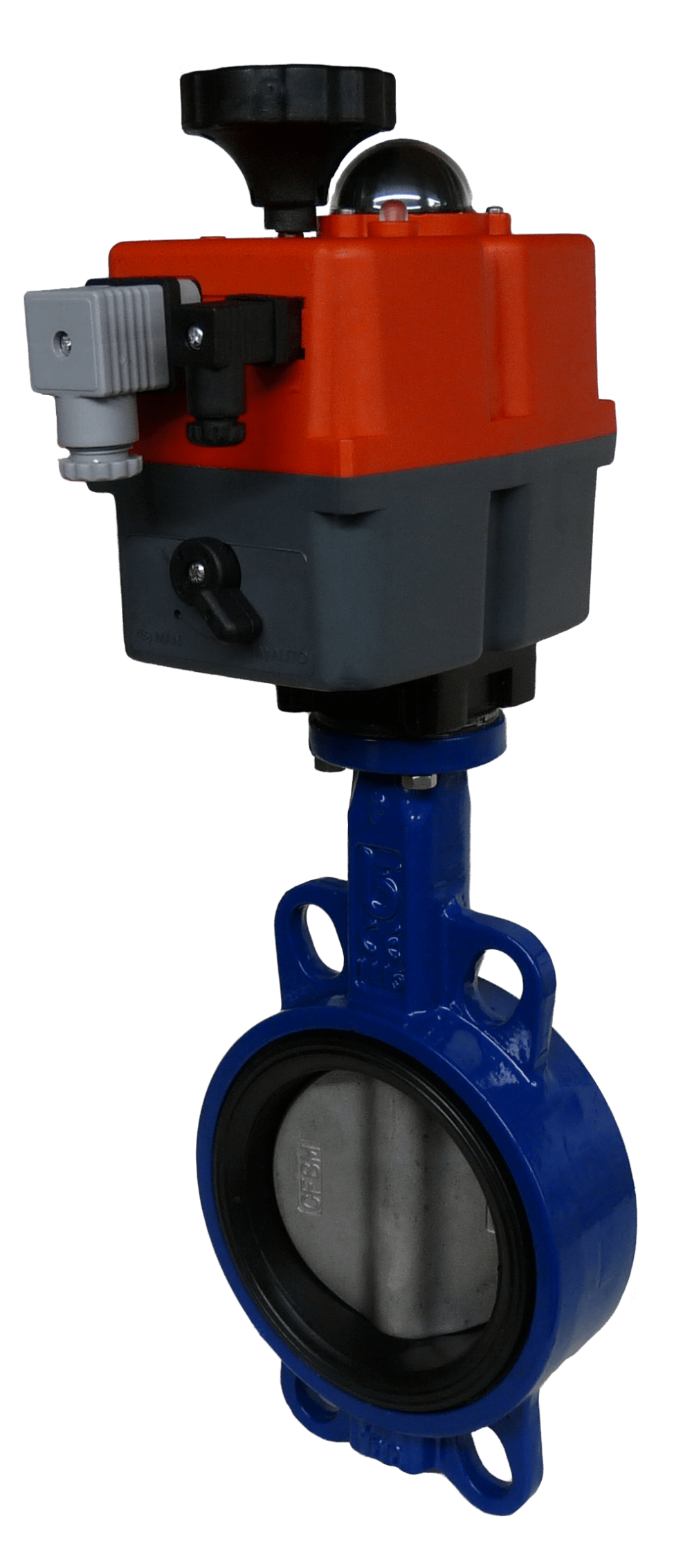 Wafer motorized butterfly valve with J+J Electric Actuator Built from AVS