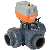 Hidroten Motorised PVC 3 Way Ball Valve with AVA Electric Actuator from AVS