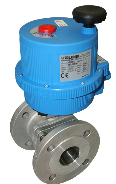 Flanged PN16 Stainless steel ball valves with plastic Valbia electric actuator